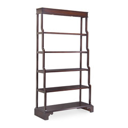 Kathy Kuo Home - Ming Global Bazaar Espresso Walnut Ming Open Display Shelf Bookcase - A truly great piece works no matter what placement or overall design approach you take,  displaying a subtle, complimentary elegance at every angle. This open waterfall bookshelf is clearly one of those covetable items destined to be heirlooms. Fluid lines, rich tones and understated details all work together and in their classic harmony work wonderfully with contemporary, traditional and international style traditions.  Two touch sensitive lights illuminate the top shelf (there are five total) creating an austere, classic look.