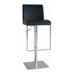 Baxton Studio Dallas Black Leather Bar Stool