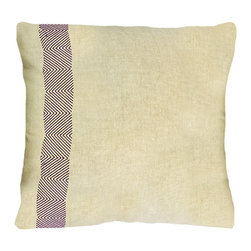 BrandWave - Linen Chevron Pillow, Aubergine - This pillow collection was inspired by a signature BrandWave pattern, chevron. The contrast between the soft linen-colored front side and the bold Aubergine back are tied together by the intricately stitched chevron pattern. The natural beauty of the hand-stitched chevron print provides an organic, irregular flow to the movement of the chevron.