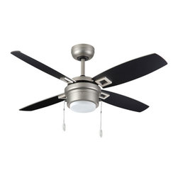 """TroposAir 42"""" Sprite Ceiling Fan - The 42 inch Sprite ceiling fan with integrated light packs an efficient 4 blade ceiling fan and light into a small package. Designed for small to medium casual spaces to bring functional air movement and light in a compact form. Available in Oil Rubbed Bronze, Pure White and Satin Steel"""