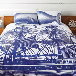 Thomas Paul Ship Duvet Cover - This seafaring bedding is great for a modern or eclectic bedroom, or even pirate fantasies (nudge nudge wink wink)!