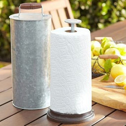 "Galvanized Metal Outdoor Kitchen Paper Towel Holder - Charming farmhouse style characterizes our galvanized metal pieces. Our paper-towel holder's base contrasts nicely with the smooth mango wood handle. 6.75"" diameter, 15.5"" high Made of galvanized iron. Mango wood handle and base."