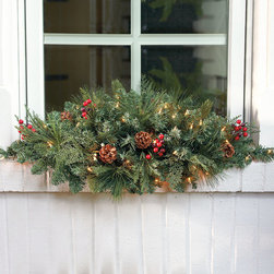 Frontgate - Classic Pre-lit Window Christmas Swag Christmas Decor - Available in clear, multicolor lights. Suitable for indoor and outdoor use. To maximize fullness, greenery will need to be shaped. 6 ft. cords. Set the outdoor holiday scene in an instant with pre-lit garlands and wreaths brimming with a mixture of greenery that's amazingly full and realistic. Life-size sprays of Scotch pine, pistol pine, noble fir, large pinecones, and bundles of ruby red berries are pre-lit with long-burning, 3,000-hour lights.  .  . .  .