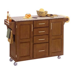 Home Styles - Home Styles Furniture Grey Granite Kitchen Cart in Cottage Oak Finish - Home Styles - Kitchen Carts - 91001063 - The freedom to conduct food preparation anywhere you wish sums up the entire appeal of the Home Styles Kitchen Cart. Whatever the task entails this cart is more than up to it with an easy-clean granite counter top four utensil / storage drawers and two interior cabinets with adjustable shelving. Four wheel casters allow for freedom of movement and feature a locking function for safety. Side mounted spice and towel racks add further practicality while a cottage oak finish provides an inherent warmth.