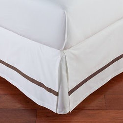 Morgan Banded 400-Thread-Count Bed-Skirt, Queen, Espresso - Our Morgan bed skirt finishes the bed with exceptional softness and tailored style. It features a single solid stripe that edges the crisp white ground. Made of pure cotton. 400-thread count. Machine wash. Imported.