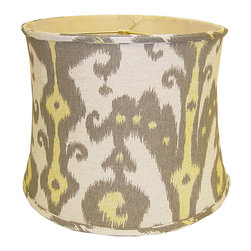 None - Retro Print Round Linen Drum Shade - Let the retro print of this cute linen drum shade take you back in time to another era. This shade fits on most lamp bases,giving you a fun way to celebrate those glory years in modern style while also providing light for your home.