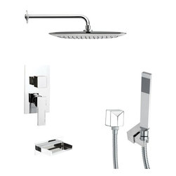 Remer - Square Chrome Tub and Shower Faucet with Handheld Shower - Single function tub and shower faucet.