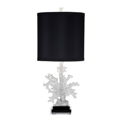 Bassett Mirror - Winder Table Lamp - An idyllic lamp for a lover of the ocean adding a touch of whimsey to any space.  The base of the lamp replicates the natural beauty of coral into your home, making any space shine.