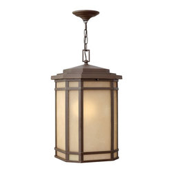 Hinkley Lighting - Hinkley Lighting 1272OZ-GU24 Cherry Creek Transitional Outdoor Hanging Light - Cherry Creek's modern take on the popular Arts and Crafts style has a timeless appeal. The cast aluminum construction is enhanced by the warmth of the finish and the vintage-looking glass.