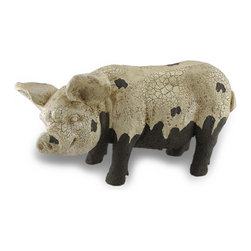 Zeckos - 19 Inch Long Crackle Finish Messy Pig Garden Statue - Add a touch of country to your garden with this distressed crackle finish muddy pig garden statue. Made of cold cast resin, the pig stands 11 1/2 inches high, 19 inches and 7 1/2 inches wide. He'll look great rooting around in flowerbeds, bushes and vegetable gardens.
