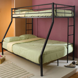Coaster - 460062B Twin/Full Bunk Bed - Black - This lovely contemporary bunk bed features round metal tube construction in black. Side guard rails will keep your child safe as they sleep on the twin size top bunk, and an attached ladder makes it easy to get up and down. The lower bunk is full size, perfect for an older child or overnight guests.