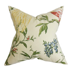 "The Pillow Collection - Giulia Floral Pillow White Green 18"" x 18"" - A colorful mix of patterns makes this throw pillow a must-have for your styling needs. Detailed with a multicolored floral pattern and a beautiful bird print in a bright yellow hue. This accent pillow makes a great statement piece to any of your room. This 18"" pillow blends easily with solids and other patterns. Made of soft and durable materials: 55% cotton and 45% linen. Hidden zipper closure for easy cover removal.  Knife edge finish on all four sides.  Reversible pillow with the same fabric on the back side.  Spot cleaning suggested."