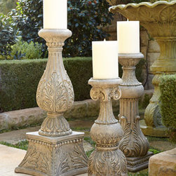 "GG Collection - GG Collection 30""T Cast-Stone Candlestick - A medley of acanthus-leaf, fluted, and beaded detailing, these impressive candlesticks let you add the ambiance of candlelight to any setting. Handcrafted of cast stone. Hand-painted finish. 24""T candlestick, 10""Dia. Boxed weight, approximately 18 lbs. 30""T candlestick, 12""Sq. Boxed weight, appr"