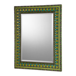 Heirloom Collection Mosaic Mirrors - Side angled view of custom glass and ceramic mosaic mirror in apple green, lime green, teal, and nickel color scheme.  Materials used include stained glass, nickel metal beads, glazed ceramic mosaic tile, and four different varieties of glass mosaic tile.  Custom sizes and color schemes available; pricing varies upon size.
