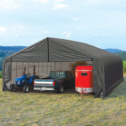 ShelterLogic - ShelterLogic 30 x 28 x 20 Peak Frame Garage Shelter Multicolor - 86070 - Shop for Sheds and Storage from Hayneedle.com! About ShelterLogic LLCShelterLogic LLC specializes in manufacturing and distributing a full line of multi-purpose all-weather shelters and accessories for consumer and commercial use. ShelterLogic offers the most diverse shelter product line and is the worldwide leader in innovative shelter design and manufacturing. The company makes shelters for all kinds of weather and custom solutions for every customer's need - from a full line of canopies garages sheds and storage shelters to popular ports greenhouses equine and engineered structures. More than 2 million ShelterLogic all-weather shelters provide protection and stand between valuable possessions and the destructive forces of nature's elements.