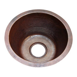"""Artesano Copper Sinks - Round Bar Copper Sink - Undermount, Without Matching Solid Copper Drain - Round Bar Copper Sink - Undermount - 15 x 7"""" - all hand made, all copper, all hammered, gauge 16, drain 3.5"""""""