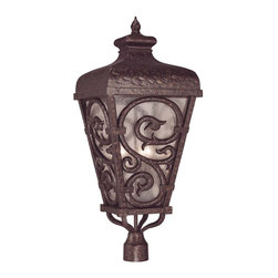 Savoy House - Spaniard Post Lantern - Make your home a castle with this regal lantern lighting your way. With this light standing in front of your house, you'll feel like royalty every time you return home. The serpentine scrolls on the frame are true loveliness, and the textured glass creates a sense of strength while providing such a glow.