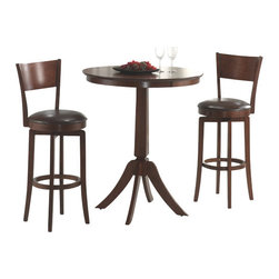 Hillsdale Furniture - Hillsdale Plainview 3-Piece Pub Table Set with Archer Barstools - The Archer bistro set, in a brown finish, features 360 degree swivel barstools with dark brown faux leather seats, a transitional arched back design and simple, tapered and slightly flared legs. The bar height table compliments the barstools with a slender pedestal base, flared legs, and a round top with a generous apron. Composed of hardwoods and climate controlled wood composites, minor assembly required.