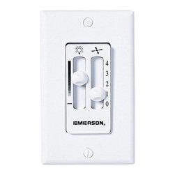 Emerson Fans - White Dual Slide Fan and Light Control - - Switch for ceiling fan control Emerson Fans - SW90W