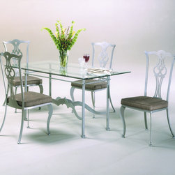 "Johnston Casuals - Princeton 5 Piece Dining Set - Give your dining room a dramatic facelift with this stylish Princeton Rectangular Dining Set. Classical Queen Anne designs with a contemporary twist, solid powder-coat metal construction, and a 36"" x 60"" rectangular glass table top ensure that this dining set will modernize your dcor. This contemporary dining set is certain to meet your design needs. And because each piece is individually hand-made in Johnston Casuals' USA factory, you can count on years of lasting quality and aesthetic appeal! Dining Set Features: -Dining set includes 1 dining table and 4 dining chairs (matching arm chairs also available). -Princeton collection. -High-quality powder-coat metal construction. -36"" x 60"" Rectangular glass table top. -Commercial-grade welding. -Individually hand-crafted in the USA. -Classical Queen Anne designs with a contemporary twist. -10-Year structural failure warranty on metal frames. Item Dimensions: -Dining Table: 30"" H x 36"" W x 60"" D. -Side Chair: 42"" H x 19"" W x 20"" D. -Arm Chair: 42"" H x 25"" W x 20"" D. More customization options may be available for an additional charge. Also, please be aware that as each item is created individually, slight variations in finish and shape may occur."