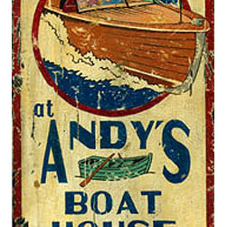 Red Horse Signs - Vintage Signs Andy's Boat House - Andy's  Boat  House  is  the  perfect  way  to  honor  your  favorite  skipper  when  you  personalize  this  rustic  vintage  sign  with  the  name  of  your  skipper  in  place  of  Andy's.  Printed  directly  to  distressed  wood  for  a  worn  weathered  look  this  sign  measures  11  x  30  and  is  a  great  gift  or  addition  to  lake  house  beach  cottage  or  summer  lodge.