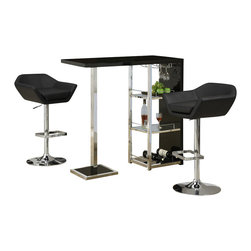 Monarch Specialties - Monarch Specialties 3 Piece 48x16 Bar Table Set with Swivel Barstools with Arms - This stylish and contemporary bar table encompasses a cool feel ideal for entertaining your guests. This piece features a spot to hang individual glasses, a top surface ideal for making cocktails, and two glass shelves that are perfect to stock all of your bar essentials and one with a convenient wine rack. The polished glossy black surfaces and chrome metal accents complete the look of this unit, making it a must-have item. What's included: Bar Table (1), Barstool (2).