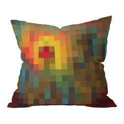 DENY Designs - Madart Inc. Glorious Colors Throw Pillow, 18x18x5 - Do not adjust your screen resolution. A palette of pixels comes to life in this techno take on color-blocking. From earthy browns and greens to blues, yellows, oranges and reds, this pillow is sure to add a striking contrast to your sofa, bench or bed. It's printed on woven polyester front and back, and includes a concealed zipper closure and bun insert. Zoom in on this great buy.