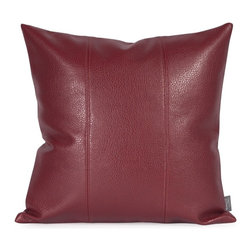Howard Elliott - Avanti Apple 16 x 16 Pillow - Change up color themes or add pop to a simple sofa or bedding display by piling up the pillows in a multitude of colors, textures and patterns. This Avanti Pillow features a bold apple red color, textured grain and a paneled design to give the look of true leather.