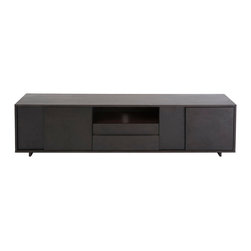 """Euro Style - Euro Style Cabrio Media Stand 16"""" x 71"""" 09611WEN - The sideboard doors have an upside down symmetry. The media stand has an implied symmetry. That shelving unit? Unbalanced and great looking. These Cabrio items prove once again that a few bold design decisions can make things extraordinary."""