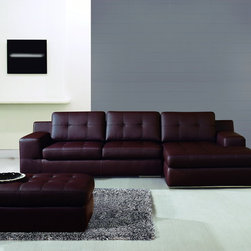 Conremporary Burgundy Bonded Leather Sectional Sofa Set Chaise Ottoman - Features