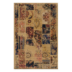 "Momeni Rug - Momeni Rug Vintage 7'10"" x 9'10"" VIN-7 Sand VINTAVIN-7SND7A9A - The Vintage Collection is meant to emulate the popular trends of over dyed and patchwork hand knotted rugs that are so popular today. Each rug is power loomed for outstanding quality and finished with hand shearing that gives each design the feel of a well-loved antique. Gorgeous brilliant color and charming designs bring the Vintage Collection to life in any modern living space."