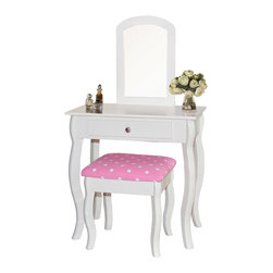 Kinfine - Kid Vanity Set in Creamy White - Juvenile vanity set, a miniature version of mom's. Great for any little girl's room. Wonderful gift idea.