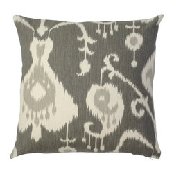 5 Surry Lane - Pewter Gray Ikat Pillow - There's no cleaner, more classic palette than gray and white.  The ethnically inspired pattern imbues an exotic vibe while the pristine, sophisticated hues will compliment any room.  Same fabric front and back.  Down feather insert included.  Hidden zipper closure.  Made in the USA.