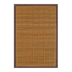 """Anji Mountain - Bamboo Rugs Pearl River Rug - Bamboo rugs have been a traditional floor covering in the Far East for centuries. They add a touch of organic, practical elegance to any space. Our bamboo rugs are made of the finest quality, sustainably harvested bamboo in the world and offer supreme durability. Features: -100% Moso bamboo harvested in its native habitat in the Anji Mountains of China.-Mitered polypropylene borders provide resilience and clean design.-Eco-friendly, non-skid rug pad backing is ventilated and provides excellent cushioning while extending the life of your rug.-Spot clean with a damp cloth and water; recommended for indoor use.-Natural fading will occur in direct sunlight.-Kiln-dried bamboo is machine-planed and sanded for a smooth finish.-Constructed with medium width bamboo slats in light brown with a darker brown border. Accent stitching in gold and brown crosses the slats.-Distressed: No.-Collection: Bamboo Rugs.-Construction: Machine woven.-Technique: Machine woven.-Primary Pattern: Striped.-Primary Color: Brown.-Border Material: Polypropylene.-Border Color: Brown.-Type of Backing: Eco-soy non-slip rug pad.-Material: 100% Bamboo.-Fringe: No.-Reversible: No.-Water Repellent: No.-Mildew Resistant: No.-Stain Resistant: No.-Fade Resistant: No.-Swatch Available: No.-Eco-Friendly: Yes.-Outdoor Use: No.-Product Care: Clean surface with a damp, clean cloth. Spot-clean borders with mild dish soap and water solution. Plastic or felt casters are recommended for chair or furniture legs to protect against scratching and cracking of bamboo slats..Specifications: -CRI certified: No.-Goodweave certified: No.Dimensions: -Pile Height: 0.2"""".-Overall Product Weight (Rug Size: 2' x 3'): 2 lbs.-Overall Product Weight (Rug Size: 4' x 6'): 7 lbs.-Overall Product Weight (Rug Size: 5' x 8'): 14 lbs.-Overall Product Weight (Rug Size: 6' x 9'): 18 lbs."""