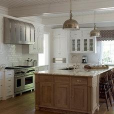 kitchens - Yoke Pendant with Large Shade wire brushed oak kitchen island white s