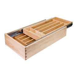Hardware Resources - Nested Cutlery Drawer for 24 inch Base Cabinet - Nested Cutlery Drawer for 24 Base Cabinet. 20 1/2 (w) x 21 (d) x 4 3/16 (h). Requires minimum 5 tall drawer opening. Includes pre assembled 100lb full extension ball bearing drawer slides. Ships prepared (notched and bored) for USE undermount drawer slides (sold separately). Made from 1/2 prefinished solid White Birch dovetailed drawer sides and 1/4 prefinished birch ply bottoms.