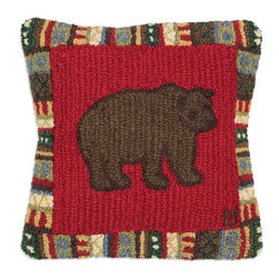 Chandler 4 Corners - Cinnamon Bear Hooked Pillow - Rustic reverie, rich textures and outdoor-inspired details define our Cabin Fever Pillow Collection.