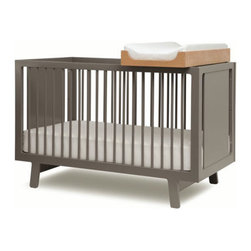 Oeuf Sparrow Crib - I love the refined, simple feel of the Sparrow Crib. Although the steely gray finish may be masculine, this crib would work for either a boy or girl.