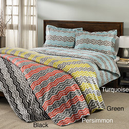 None - Strada Ikat 300 Thread Count 3-piece Duvet Cover Set - This duvet cover set features a unique jagged colorful pattern in thin stripes in a choice of several color options. The machine washable set's 300 thread count is soft and luxurious.