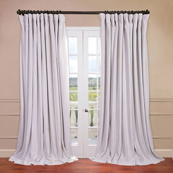 Half Price Drapes - Signature Doublewide Off White 100 x 96-Inch Blackout Curtain - - Our soft plush pile Velvet Curtains  Draped have a natural luster with a depth of color that creates a formal, polished look. Made of high-quality, poly velvet and soft flowing polyester blackout thermal lining. The curtains keep the light out and provides for optimal insulation  - Single Panel  - Weighted  - Pole Pocket  - Cleaning/Care: Dry Clean Half Price Drapes - VPCH-VET1219-96