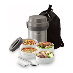 Zojirushi - Mr. Bento Stainless Steel Lunch Jar - This full-service lunch box for both adults and kids is the ideal solution for hot and/or cold lunch storage. Constructed of stainless steel, this lunch jar has four microwavable inner bowls and a forked spoon with cover in an easy-to-carry bag.