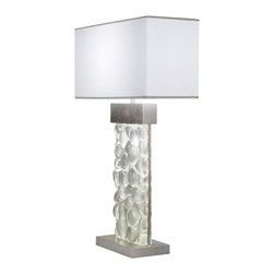 Fine Art Lamps - Crystal Bakehouse River Stone Table Lamp, 824610-34ST - Illuminate your favorite setting with this elegant table lamp. A hand-crafted, polished block of crystal river stones sits in a silvery base beneath a pristine white shade. For contrasting warmth, choose a bronze finish.