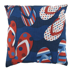 `Patriotic Flip Flops` Climaweave Indoor/Outdoor Throw Pillow 20 In. - This 20 inch throw pillow adds a wonderful accent inside your home, or outdoors on your porch or patio. The Climaweave fabric is durable, fade and moisture resistant, and is sure to look and feel great for years, wherever you display it. The pillow features red, white and blue flip flop sandals, in various stripes and polka dots, on the front side. The reverse side has a red, white, blue and black polka dot print. It is made of 100% polyester, from the cover to the soft stuffing, and is proudly made in the USA.