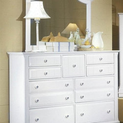 Vaughan Bassett - Triple Dresser & Landscape Mirror Set in Snow - Includes triple dresser and landscape mirror. Triple dresser:. 9 Drawers. 58 in. W x 18 in. D x 44 in. H. Landscape mirror: 42.5 in. L x 2 in. W x 38 in. H. Snow White finish. Assembly required
