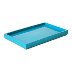 """Jonathan Adler - Jonathan Adler Lacquer Bath Tray Blue - Final Sale - Jonathan Adler's bright bath tray energizes contemporary interiors. Shiny and glamorous in a blue lacquer finish, this rectangular resin accessory offers practical storage. 10""""W x 6.5""""D; Hand-poured lacquer; High gloss clear coat"""