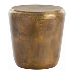 """Arteriors Home - Santiago Iron End Table by Arteriors - Make a statement with a gutsy update of the Santiago Iron End Table by Arteriors. Burnished bronze with crisp definition is an ideal fit next to your curl-up reading chair. Whether a contemporary or traditional setting, this end table is welcome with all styles. (ART) 21"""" diameter x 21 1/2"""" high"""