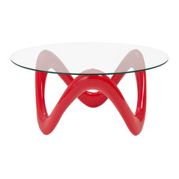 Euro Style - Euro Style Chelsea Coffee Table // High Gloss Red/Clear - It's hard to imagine anything but fun happening around this table. Cocktails. Conversation. Familiarity and fun. The tempered glass top rests on a lively, organic shape that feels like a smile no matter how you look at it.