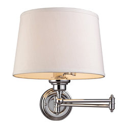 """Lamps Plus - Traditional Westbrook Polished Chrome Plug-In Swing Arm Wall Lamp - With clean lines and a modern form this polished chrome plug-in swing arm wall lamp is ideal for adding easy stylish lighting to your living space. With a handy swing arm feature this lamp will make an excellent addition next to a bed reading chair or workspace. From the Westbrook collection by Elk Lighting. Polished chrome finish. Swing arm wall lamp. Plug-in style. From Elk Lighting's Westbrook collection. Takes one maximum 150 watt 3-way medium base bulb (not included). 15"""" high. 12"""" wide. Extends 12"""" to 25"""" from the wall. Backplate is 5"""" round.  Polished chrome finish.  Swing arm wall lamp.  Plug-in style.  From Elk Lighting's Westbrook Collection.   Takes one maximum 150 watt 3-way medium base bulb (not included).  15"""" high.  12"""" wide.  Extends 12"""" to 25"""" from the wall.  Backplate is 5"""" round."""