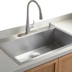 KOHLER - KOHLER K-3821-4-NA Vault Large Single Kitchen Sink w/ Four-Hole Faucet Drilling - KOHLER K-3821-4-NA Vault Large Single Kitchen Sink with Four-Hole Faucet Drilling
