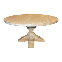 Round Pedestal Dining Table with a Gray Wash Wax Finish - An honest look for a smaller dining room, the Round Pedestal Dining Table gives an authenticity to this most intimate of seating arrangements with a simple top displaying the beautifully washed grain of reclaimed boards. Its pedestal, a weighty and stable carved post with splayed wedge feet, coordinates with elegant traditional settings and brings them a pleasant note of welcome, but the purity of the design suits simpler rooms as well for a remarkable versatility.